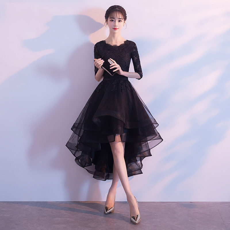 4 Colors Girl Evening Prom Dress Gown Classic Black Lace Embroidery Floral Cheongsam Improved O-Neck Qipao Vestidos Size XS-XXL