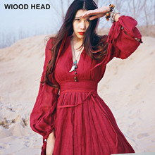 2017 Summer Women Red Dress Maxi Robe Nation Style Loose Red Dandage Dress Cotton Linen Fashion Beautiful Vintage Long Dress