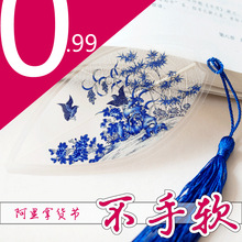 Veins bookmarks Chinese blue and white porcelain painting of flowers and figure(China)