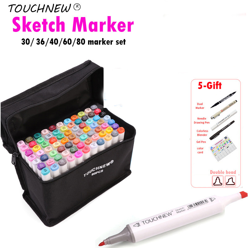 TOUCHNEW Alcohol Brush Marker 30/40/60 Color Dual Head Marker Set, Alcohol Sketch Artist Brush Drawing Manga Design Art Supplier<br>
