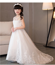 2017 Princess Bead White Lace Flower Girl Dress Trailing Kids Evening Ball Gown Party Pageant Dresses First Communion Gown