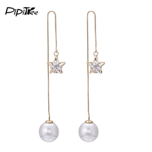 2017 Shiny Star Austrian Cystal Drop Earrings Simulated Pearl Jewelry Fashion Gold Color Ear Wire Chain Long Earrings for Women(China)