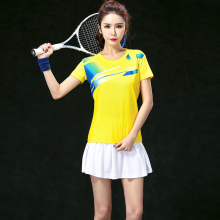 2017 Badminton clothes sets Women's Jerseys , Female Tennis sets  ,Table Tennis sets , Tennis shirt + skorts yellow set 5061B