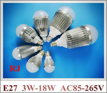 LED bulb light lamp 3W 5W 7W 9W 12W 15W 18W AC85-265V E27 50pcs/lot Fedex DHL UPS shipping CE ROHS factory price and quality