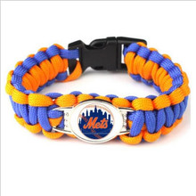 10pcs/lot Fashion MLB Team New York Mets Paracord Survival Bracelet Baseball Fans Friendship Outdoor Camping Sports Bracelets(China)