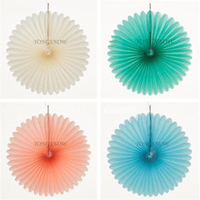 10pcs/lot Tissue Paper Fans Paper Craft Colorful Paper Flowers Origami Wedding Home Baby Shower Birthday Party Decorations(China)