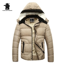 2016 New Men's Winter Coats Fashion Hooded Thickened Quilted Jacket Men Designer Casual Plus Size Winter Cotton Jacket D8F16