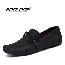 POOLOOP Durable Mens Lace Loafers SWIMs Casual Beach Shoes Breathable Driving Shoes For Men Penny Loafers Mesh Comfortable Shoes(China)