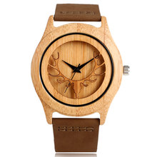 Creative Bamboo Nature Wood Deer Head Wrist Watch Genuine Leather Band Analog Strap Men Women Quartz Business Pin Buckle Gift