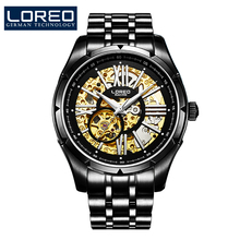 New Top Brand LOREO elegant fashion automatic mechanical sapphire hollow luminous 316L Stainless Steel fashion business menwatch