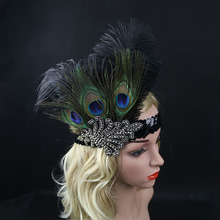 Indian Style Black Feather Headband Peacock Feather Hair Accessories Halloween Elastic Rhinestone Feather Headwear