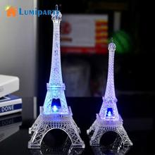 LumiParty Colorful Romantic Eiffel Tower LED Night Light Wedding Bedroom Decorate Night Light(China)