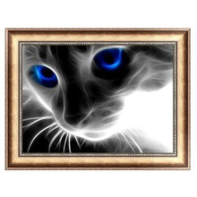 DIY 5D Diamond Embroidery Mosaic Blue Eyes Cat Painting Cross Stitch Home Decor 40*30cm -Y102
