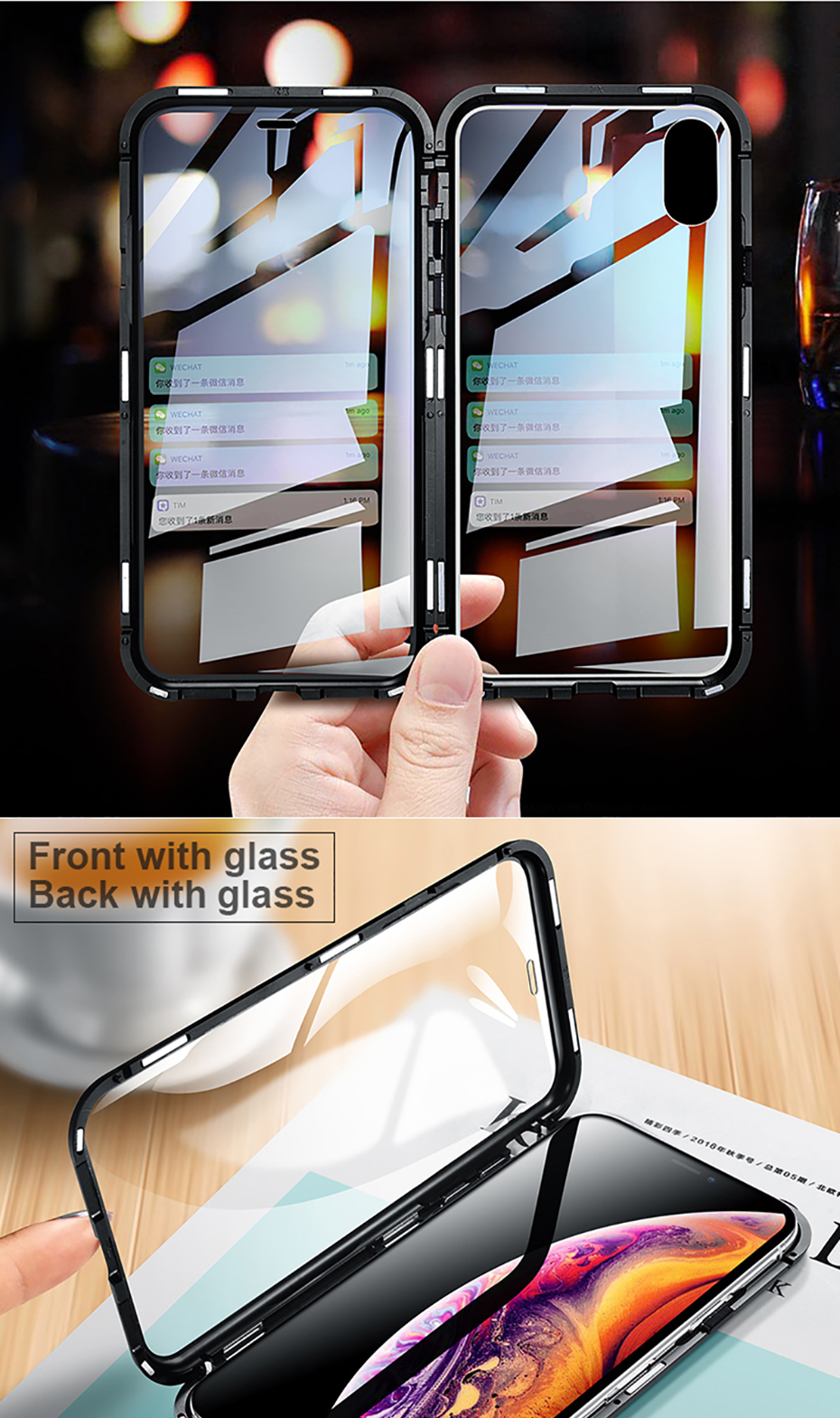 Double sided glass Magnetic case for iphone XS Max X 7 8 Plus Luxury metal 360 degree Full protection cover for iphone 7 8 Xr (1)