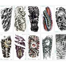Temporary Tattoos 3D Black Robot Mechanical Arm Fake Transfer Tattoo Stickers Hot Sexy Cool Men Spray Waterproof Designs MWS8141(China)