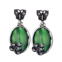 Green Crystal Dangle Earrings Fashion Jewelry Elegant Simple Cat Eye Maxi Water Drop Earrings Women 2017 Earring New(China)