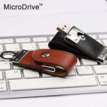 100% Genuine PU leather usb flash drive 4GB 8GB 16GB 32GB 64GB usb 2.0 flash driver 32GB pen drive u disk pendrive flash drive(China)