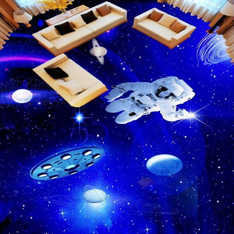 Free shipping custom floor mural anti-skidding thickened living room bathroom wallpaper  Star Astronaut 3D Floor<br>
