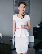 Summer Formal Fashion Women Business Suits with Skirt and Top Sets White Office Ladies Work Uniforms for Beauty Salon OL Style