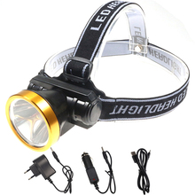 2 Modes Rechargeable LED Headlamp Built-in Battery High Power Headlight Miner's Lantern Aluminum Alloy+Plastic Waterproof Lamp(China)