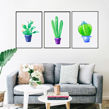 Green small Potted Cactus Aloe Vera Canvas Art Print Painting Poster Wall Picture for Home Decoration Living room Wall Decor