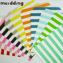 MEIDDING 25pcs/lot 13x18cm Paper Bags Popcorn Candy Bags Vertical Stripes Party Food Paper Bag Wedding Birthday Party Supplies(China)