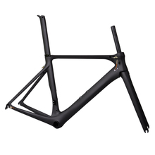 Free Shipping Black Matte Areo Road Bike Frame 505m 700C Bicycle frame Fork Seatpost BB86(China)