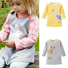 Girls Dress 2017 Summer Baby Girl Clothes Toddler Dress Kids Long Sleeves Cartoon Embroidery Dresses For Girls Children Clothing