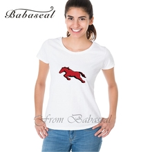 Babaseal Print Letter 2017 Summer Tee Shirt Rainbow Tee Women Tie Dye Graphic Mustang Bright Horse T-shirt Top Brand Summer Tops