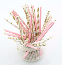 Hot 125pcs(5bags)pink gold striped mixed kids birthday wedding decorative party decoration event supplies drinking Paper Straws