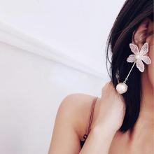 Statement Ab Design Pink Lace Flower Drop Earrings Women Simulated Pearl Fashion Jewelry Girl's Gift Wholesale