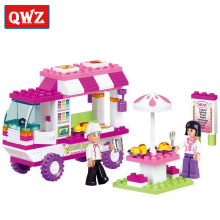 QWZ Pink Dream Snack Car Building Blocks Particles Bricks Girls Toys Compatible With Major Brands Blocks Kids Christmas Gifts