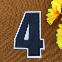 retail ~ 1pcs Footballer Polo Shirt No.4 Number Badge Patches iron on Fabrics Clothes bag Appliques DIY accessory(China)