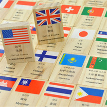 Russian English Chinese Korean Language National Flag Geography Children Kids Wooden Educational Domino Block Toys, 1SET=100PCS