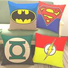 Batman Superman Cushion Green Lantern Dwyane Wade Cartoon Badge Logo Sofa Throw Pillows Marvel Super Heroes Cotton Linen
