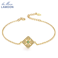 LAMOON Natural Gemstone Emerald Bracelets & Cuff 925 Sterling Silver Fine Jewelry Plated For Women LMHI003