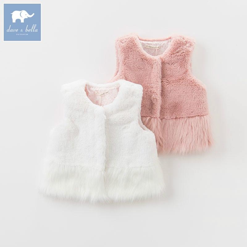 DB5496 dave bella autumn infant baby girls fashion coats kids sleeveless vest toddler coat children clothes<br>