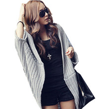 New Korean Ladies Irregular Bat Sleeve Loose Long Sweater Coat Shawl Women Casual Large Size Cardigan Poncho sweter mujer JY-666