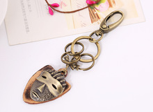 Leather Belt Bronze Color MASK Keychain Keyring Key Chain Ring Rope Keyfob Car Styling Vehicle 4S STORE GIFT BABY520(China)