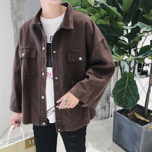2018 Newest Men's Big Pocket Clothes Loose Outwear Casual Khaki/Coffee Short Bomber Streetwear Hip Hop Style Jacket Coat M-2XL(China)