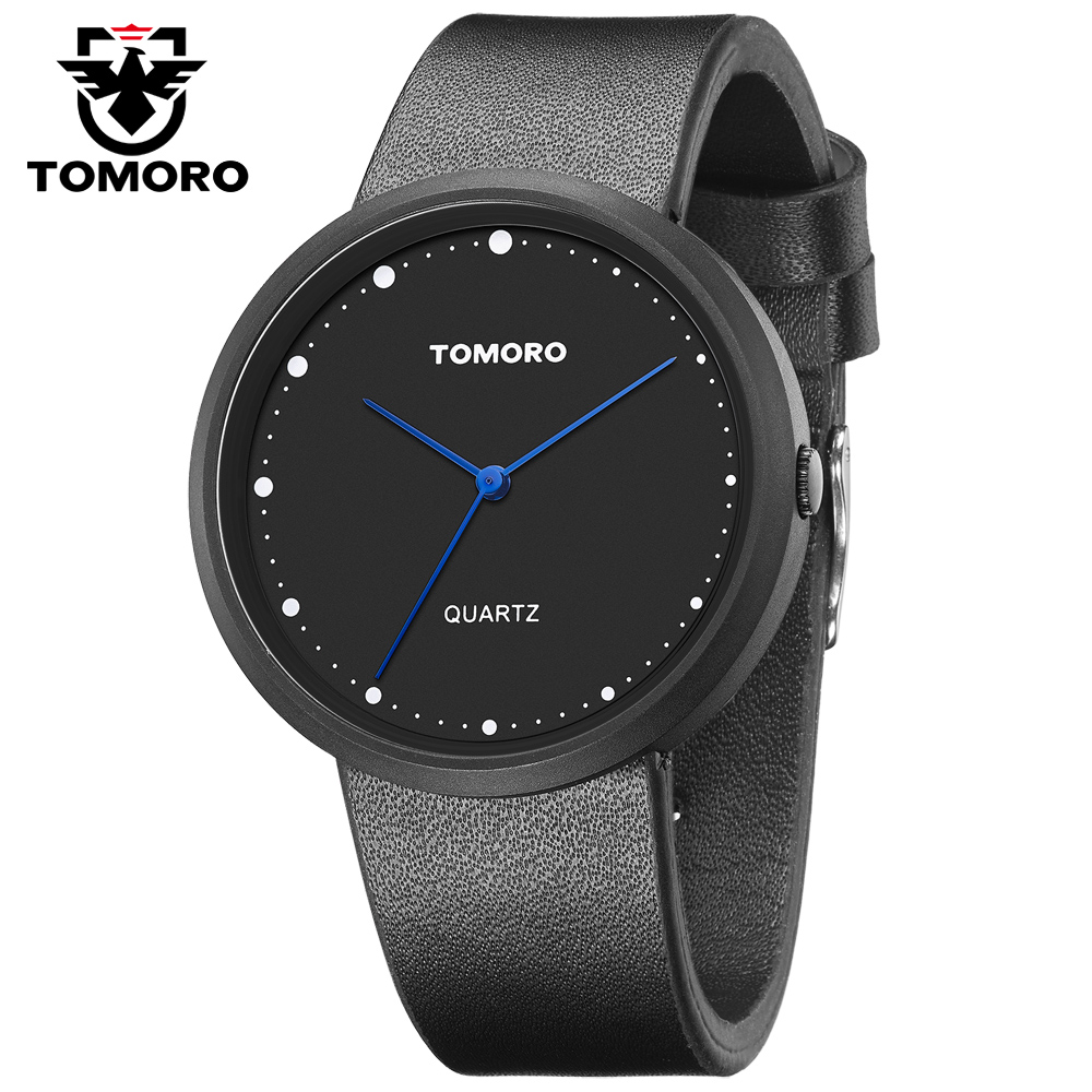 TOMORO 2017 Moon Inspired Original Unisex Vogue Minimalist Men Black Calfskin Leather Water Resistant Women Japan Quartz Watches<br>