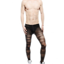 2016 Brand Fashion Black Sexy Pantyhose for Men See Through Mens Tights Nylon Pantyhose Gay Men's Sexy Lingerie Leggings(China)