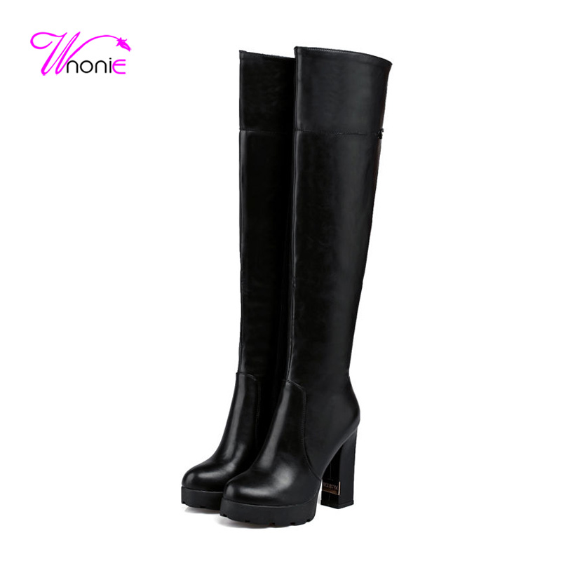 2017 Shoes Women Long Boots Thigh High Boots Block Square High Heel Round Toe PU Sexy Winter Over The Knee Overknee Ladies Shoes<br><br>Aliexpress
