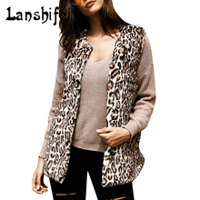 2017 New Middle and Long Style Leopard Print Fur Vest Coat Women Thin Faux Fur Jacket Female V-necked Furs Coats Gilet Veste 2XL(China)