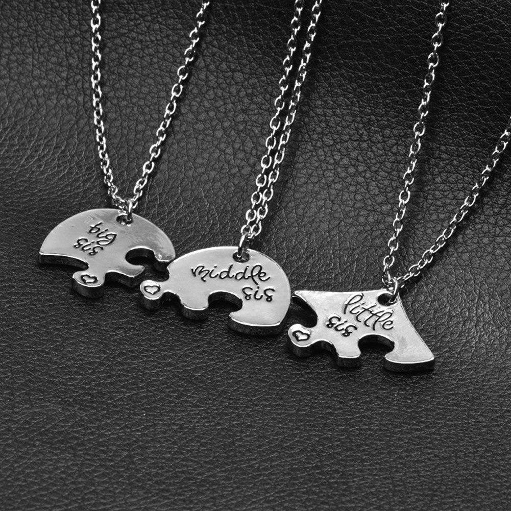 New 3pcs Little Middle Big Sister Jigsaw Broken Heart Pendant Necklace Silver Chain Necklace Best Friend Your Friend Gift