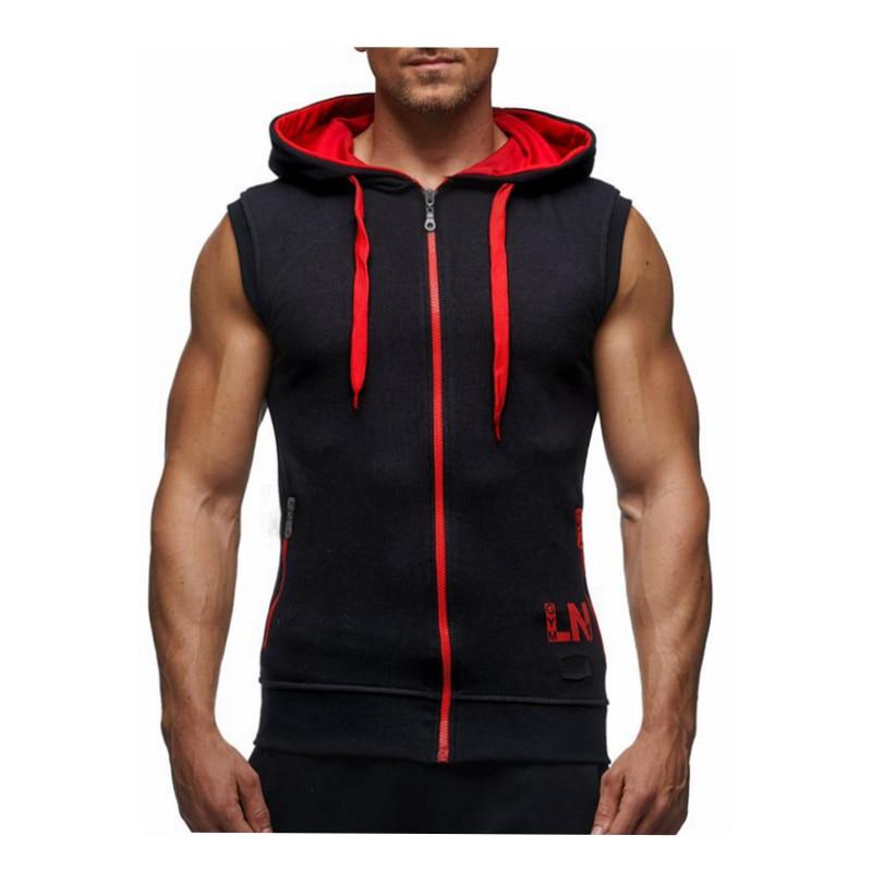 Male Bodybuilding Hoodies Fitness Clothes Hoody Cotton Hoodie Men Sweatshirts Men's Sleeveless Tank Tops Casual Vest 23