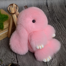 2017 13CM Cute Bunny Keychain Fluffy Pompoms Rabbit Fur Key Chain for Women Girls Bag Car Pendant Charm Keyring Key Ring