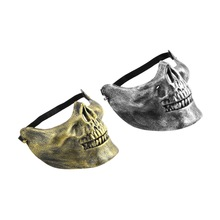 2017 New Skull Skeleton Airsoft Game Hunting Biker Half Face Protect Gear Mask Guard Halloween Masquerade Party Worldwide sale