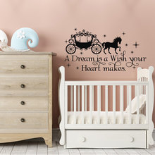 A Dream Is A Wish Your Heart Makes Cinderella Quote Wall Decal Fairy  Wall Stickers For Girls Bedroom Horse Carriage DecalSYY168