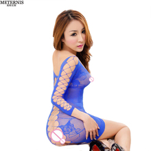 Buy 5 colors fishnet hollow Women Sexy Lingerie Hot Crochet Mesh Hollow See-through Chemise Sexy baby doll women Erotic Lingerie 015